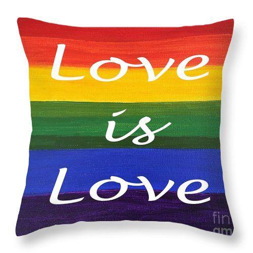"""Rainbow Love"" artwork by Lynn Tolson. to buy click image #ThrowPillow #RainbowArt #RainbowDecor #PrimaryColors #LoveIsLove #GayPride #LGBT #GayMarriage #GayWedding #Children'sRoom #PlayRoom #RainbowHomeDecor"