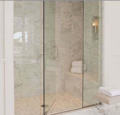 Marble Shower With Bench Frameless Glass Door Lucite
