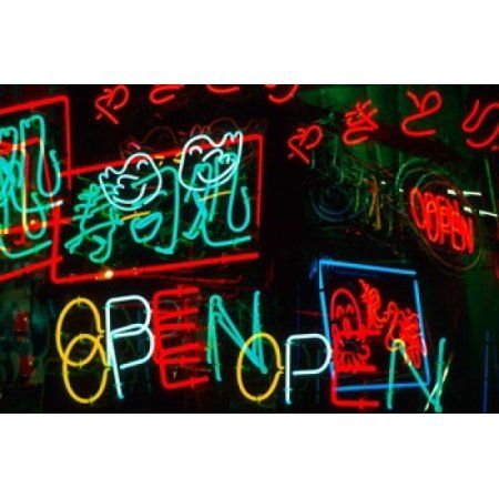 Neon Signs For Sale in Dotombori District Market Osaka Japan Canvas Art - Jaynes Gallery DanitaDelimont (26 x 18)