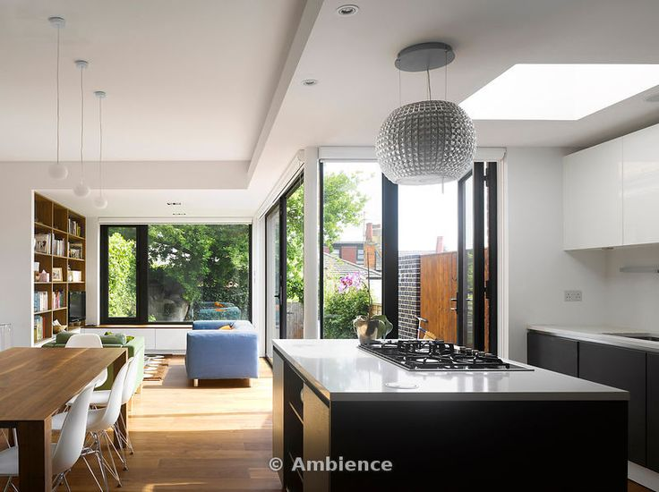 Living Room/Dining Room and Kitchen of extension to a Victorian house in Crouch End by Andrew Mulroy Architects