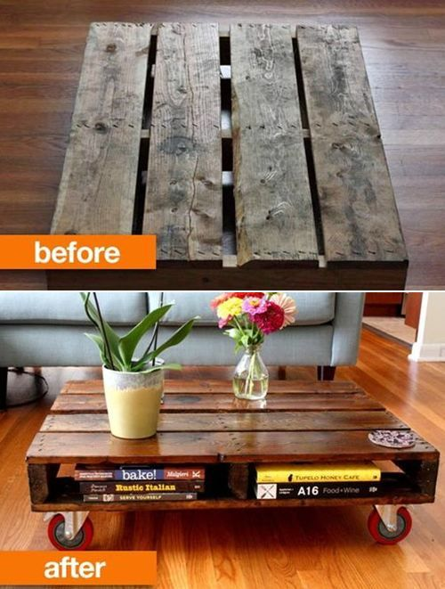 idea for a wood pallet...could paint any color then top with glass so nothing can fall through the cracks :)