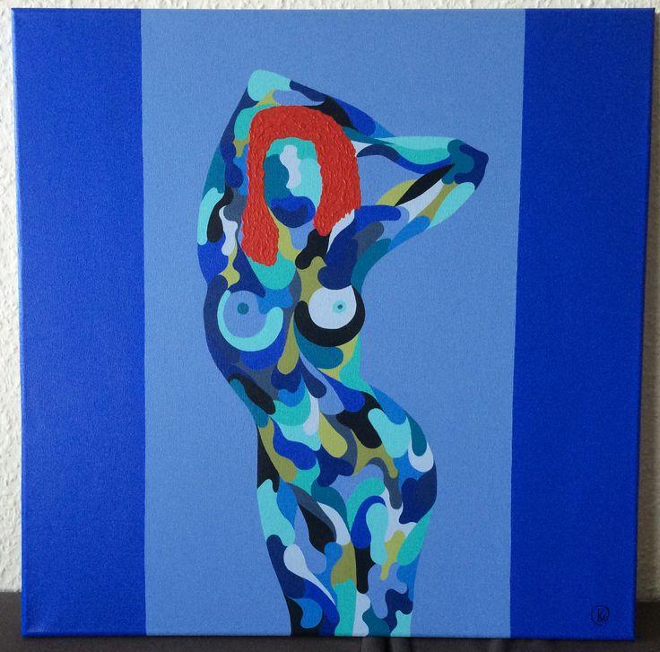 "Titel ""Kvindens Dyd"" English ""The Woman´s Virtue"" 50x50 cm. Acrylic Colors"