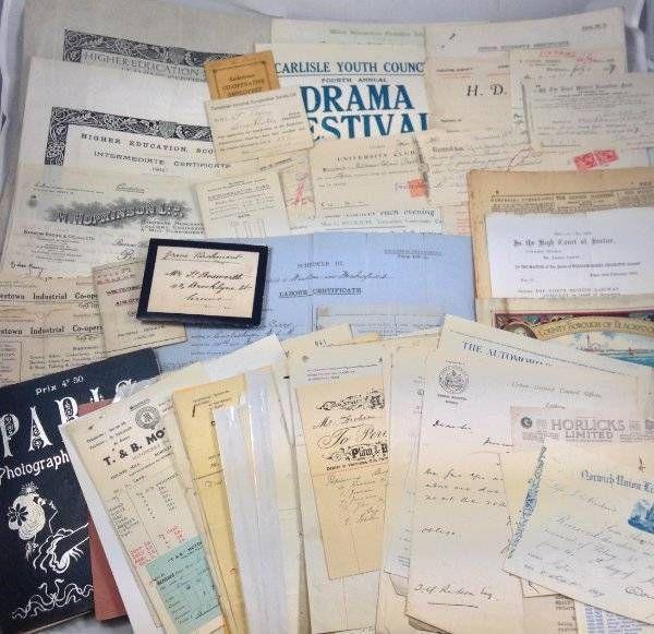 Huge Ephemera Job Lot 70+ Receipts Letters Certificates Stamp Duty School 1870