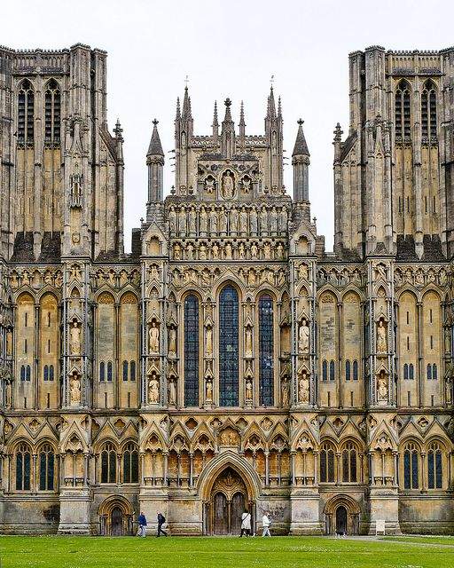 Wells Cathedral, Somerset, England - begun 1175 - Bishop Reginald de Bohun brought the idea of a revolutionary architectural style from France, and Wells was the first English cathedral to be built entirely in this new Gothic style.
