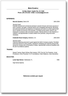 Security Guard Resume Example - http://www.resumecareer.info/security-guard-resume-example-6/