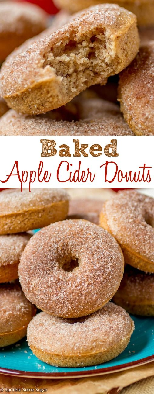 Baked Apple Cider Donuts. Fluffy spiced donuts spiked with apple cider and rolled in cinnamon spice sugar. They're baked rather than fried and you won't miss it!