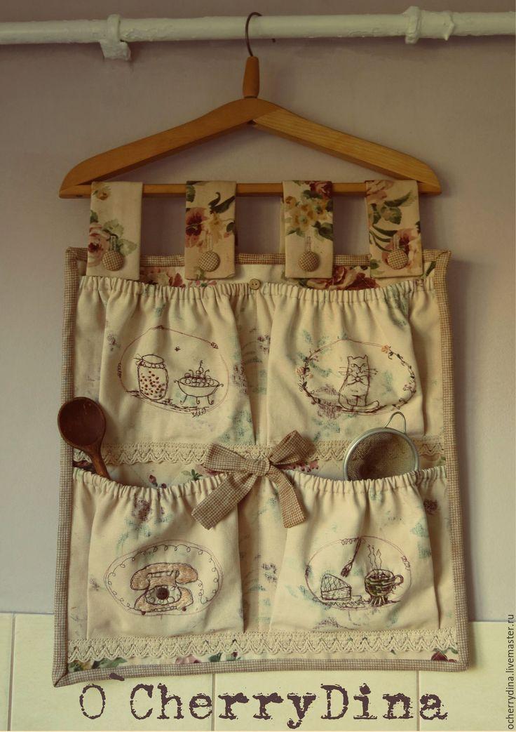 """Купить Органайзер """"Очень милый дом"""" - органайзер, карманы, кухня, розы, кот, телефон, вышивка"""
