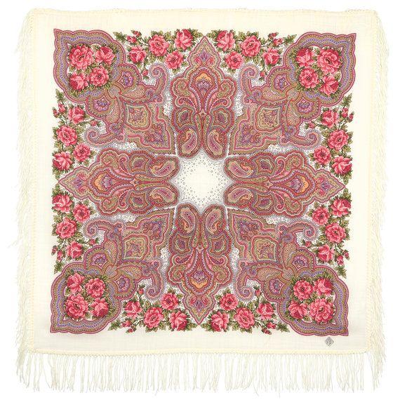 Pavlovo Posad kerchief Russian Silk Wool wrap Gift for her