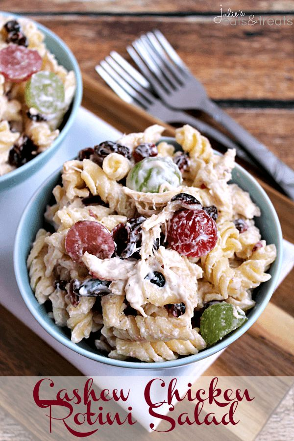 Cashew Chicken Rotini Salad ~ Loaded with Cashews, Grapes, Chicken, Pasta and Dried Cranberries! This salad would be the perfect 4th of July side dish! I made this last weekend