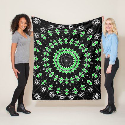 Celtic Tribal Mandala ( Green ) Fleece Blanket - floral style flower flowers stylish diy personalize