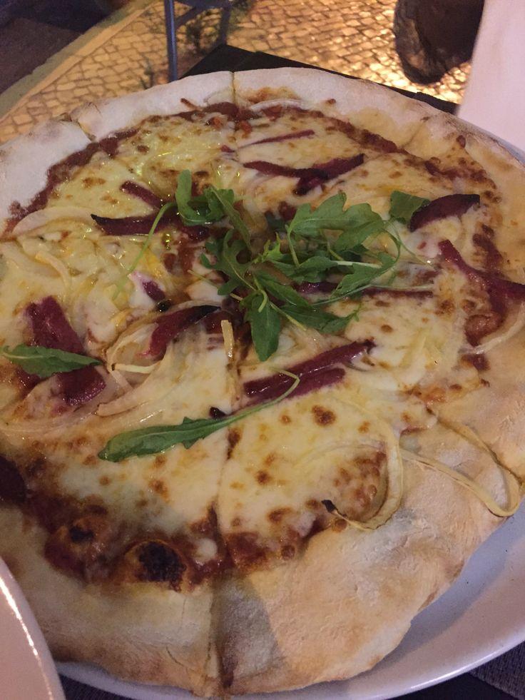 Pizza Diablo at Pizza Pedra, Olhao, Algarve, Portugal