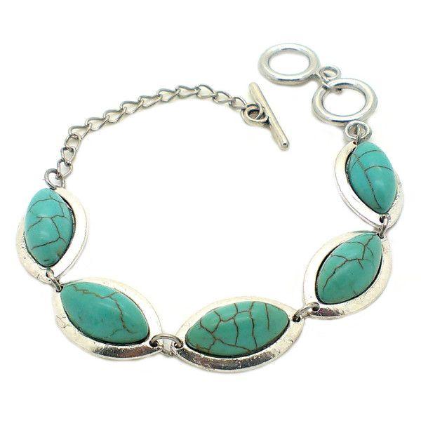 Turquoise Stone Wrist Cuff Bracelet Bangle by Trendymela.com