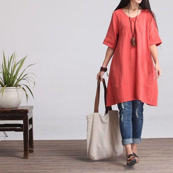Round NeckMaxi Dress  Summer Dress in Orange Linen by deboy2000