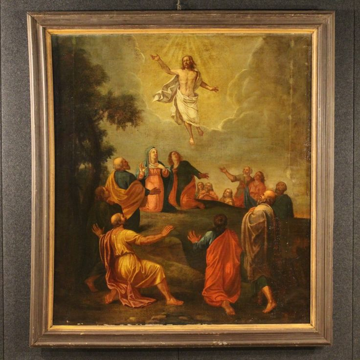 """Price: 4200€  Great religious painting of the second half of the 18th century. Work oil on canvas depicting the subject of sacred art """"Ascension"""". Coeval frame that presents some signs of aging and is slightly curved on the left side. Painting internal measures: H 149 cm x W 134.5 cm. Painting that has undergone during the 19th century, some conservative restoration and recovery of color, overall in good condition.  #antiques #parino Visit our website www.parino.it"""
