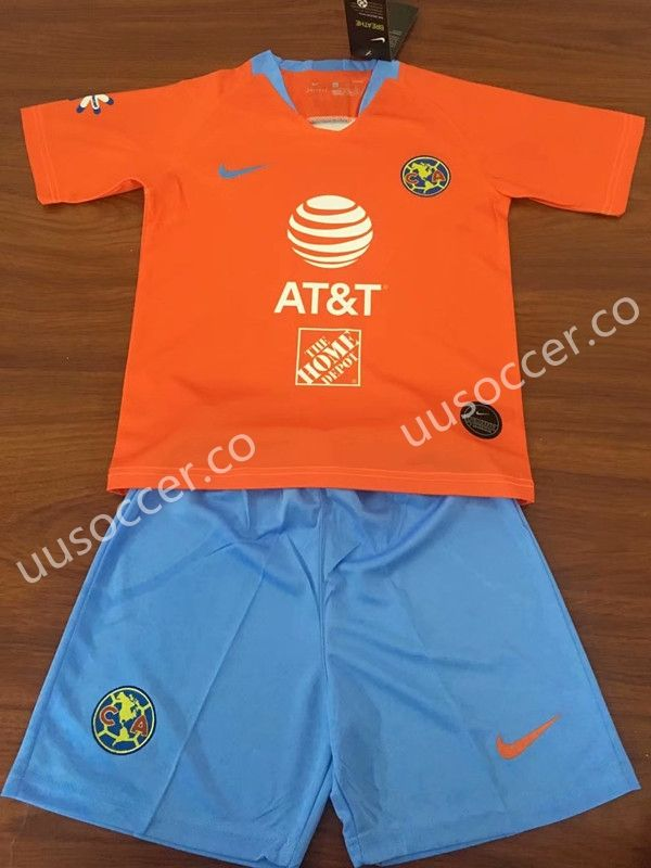 c3a508e3c 2019-2020 Club American 2nd Away Orange Kid/Youth Soccer Uniform ...