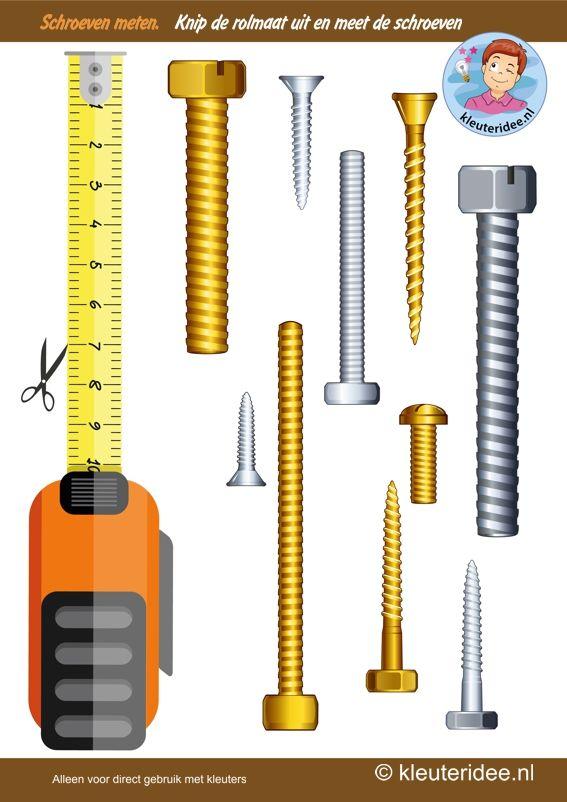 Meet de schroeven, thema huizen bouwen, Rekenen met kleuters, kleuteridee, Kindergarten measurement free printable.