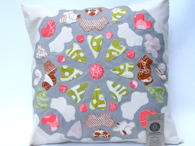 Appliqued cushions made by Stacey (Stitch.Paint.Love) from Umbrella Prints Trimmings. (please click this image for her other cushion!)    If you think it should win 'pin' it from the original '2012 Trimmings Competition by Umbrella Prints' board.    http://pinterest.com/umbrellaprints/2012-trimmings-competition-by-umbrella-prints/