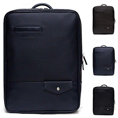 Leather Laptop Backpack for Men Best College Backpacks Black Bag CHANCHAN 304