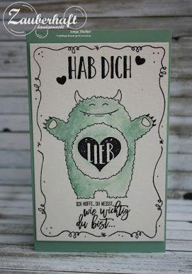 Zauberhaft-handgemacht, Ich-hab-dich-lieb-Monster, Stampin' up, Yummy in my Tummy, Karte, Doodeln