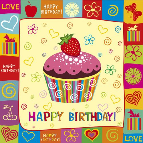 Happy Birthday elements card vector 01 - Vector Birthday, Vector Card ...: