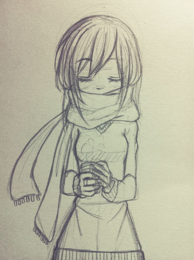 i like to draw girl wearing a scraf so much, and i have no idea why…#girl #manga #drawing