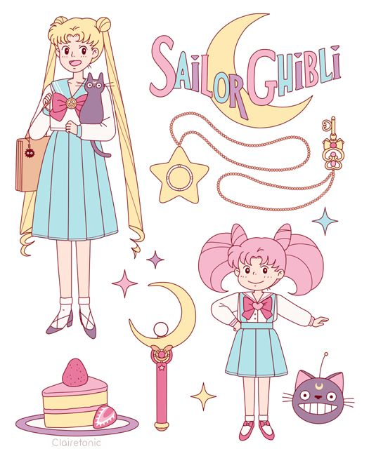 Sailor Moon and Sailor chibi moon in ghibli style by ClaireTonic