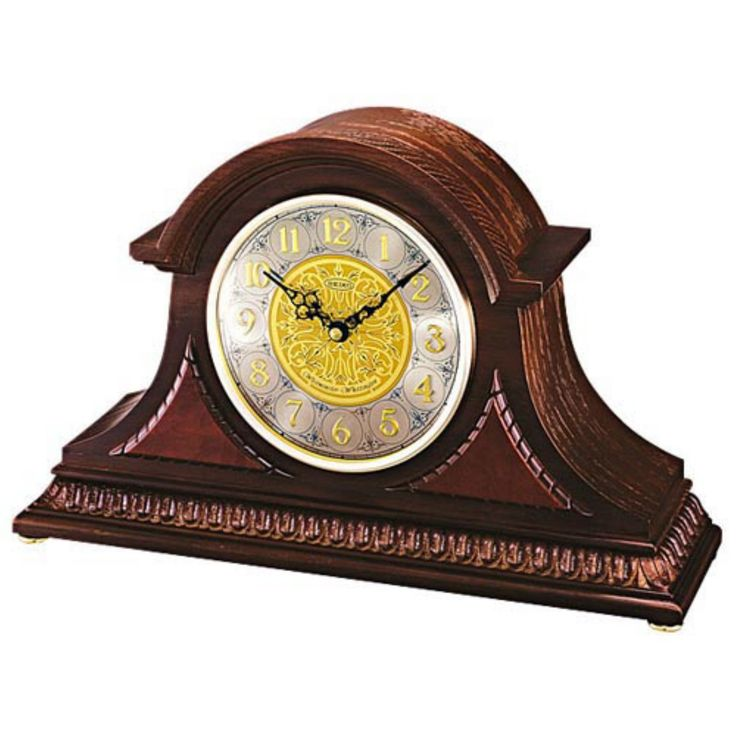 Seiko Marion Dark Oak Tambour Mantel Clock - QXJ003BLH