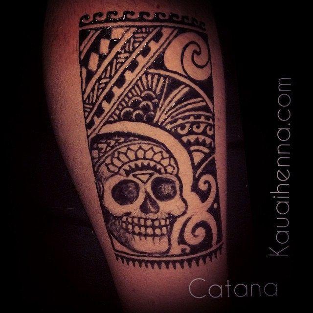 Feeling inspired by my Hawaiian & Spanish ancestors. #Jagua #jaguatattoo #bodyart #henna #kauai #hawaii #fusion #spanish #polynesian #inspired #tattoo #sugarskull #tribal #freehand #drawing #design by Catana