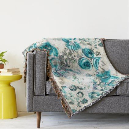 46 Floral Theme Pastel Traditional Turquoise Throw Blanket - shabby chic home decor style diy unique living