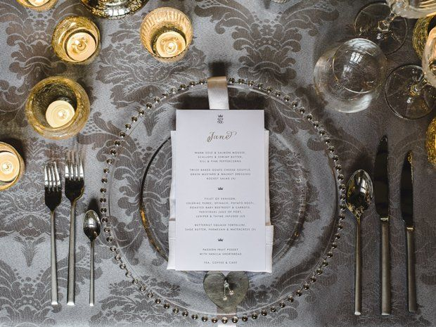 This elegant table settings oozes with metallic glamour. © Weddings by Nicola & Glen. #weddingtables #wedding #winterwedding