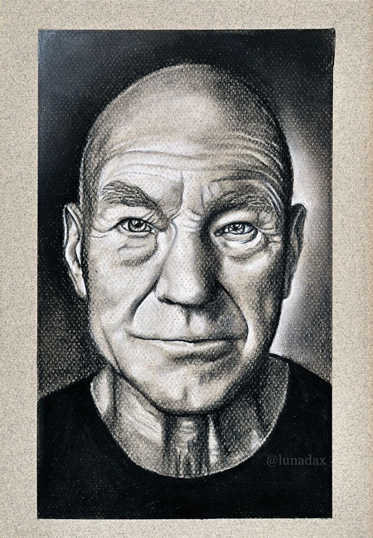 Sir Patrick Stewart, Conté Pastel in black and white, on Canson Pastel Mi Teintes