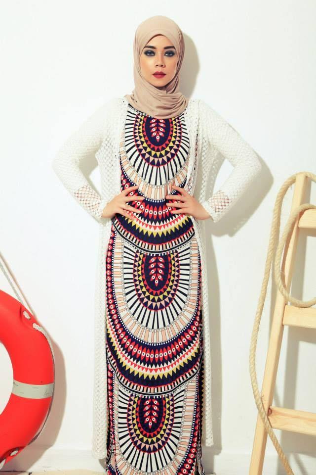 Geo Maxi Hijab Causual summer dress - 27dressez