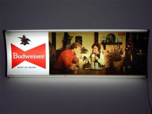 Vintage Budweiser Bud Beer Lighted Large Wall Sign Light W
