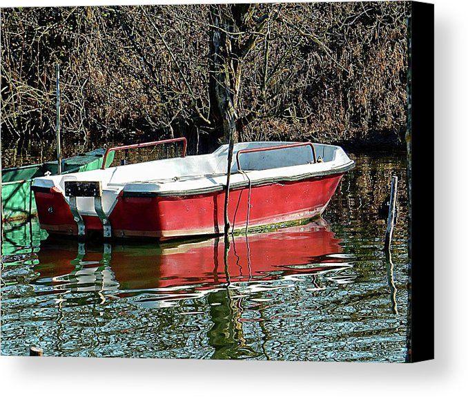 Red Moored Boat Lago Di Chiusi Canvas Print by Dorothy Berry-Lound.  #boat #tuscany #lagodichiusi