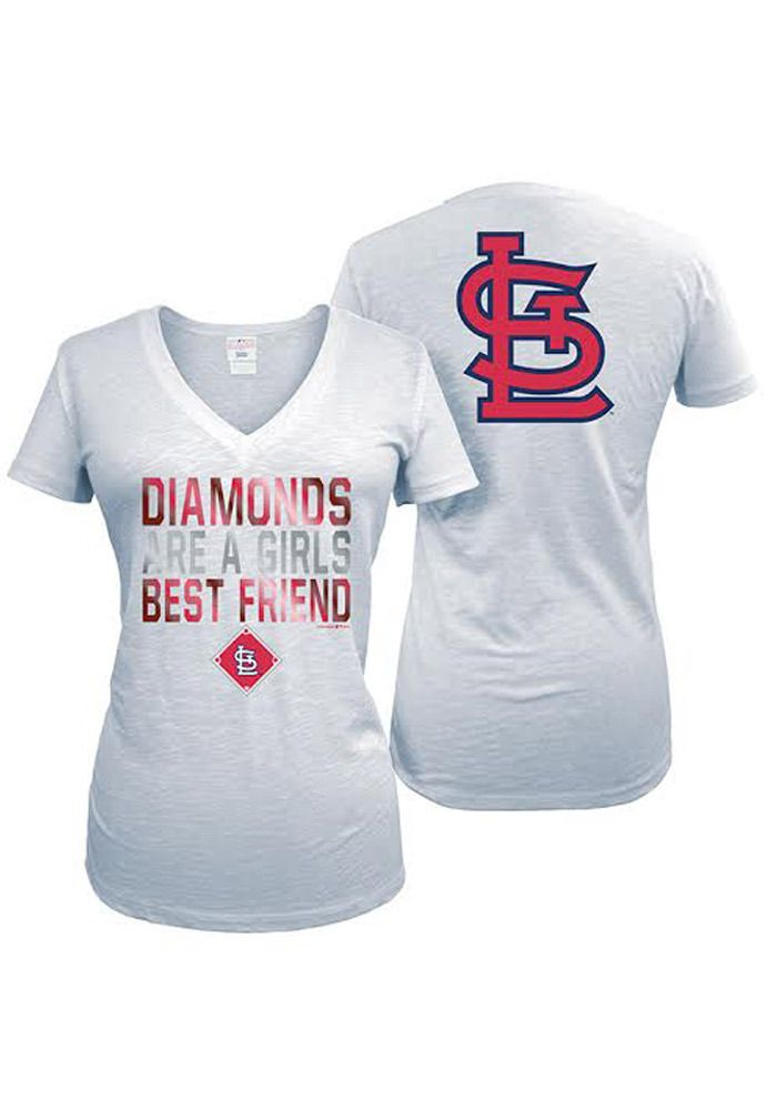 St Louis Cardinals T-Shirt - White Cardinals Diamonds Are A Girls Best Friend Short Sleeve Tee http://www.rallyhouse.com/mlb/nl/st-louis-cardinals/a/womens/b/t-shirts/c/short-sleeve?utm_source=pinterest&utm_medium=social&utm_campaign=Pinterest-STLCardinals $29.99