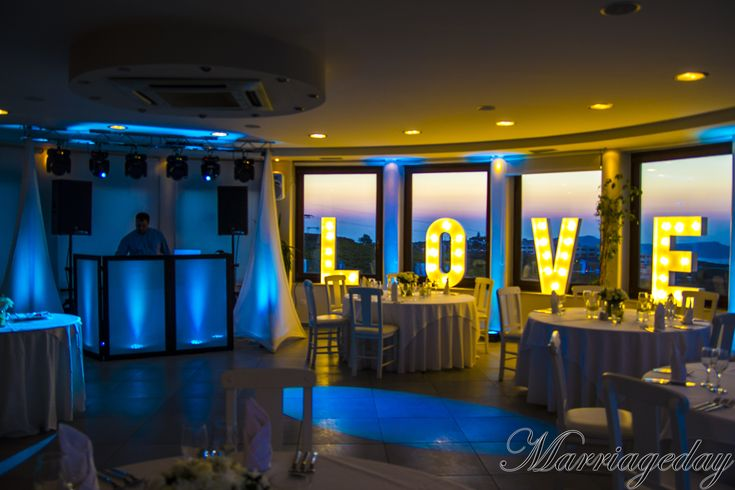 All you need is Love... and to have your reception in Panorama hall!   #weddingideas #weddingvenues #love #panorama #santoriniwedding #santorini #greece #greekwedding #dancefloor #pyrgos