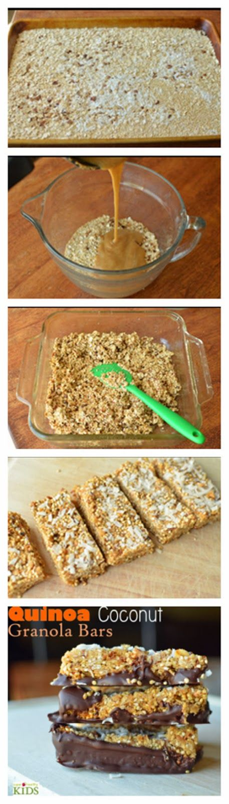Quinoa Coconut Granola Bars     1 cup cooked quinoa     1 cup quick oats     1/2 teaspoon cinnamon     1/2 teaspoon nutmeg     3 tablespoons brown sugar     1 tablespoon granulated sugar     1 tablespoon maple syrup     1 cup chopped apples      2 eggs, lightly beaten