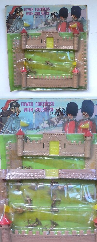 Pre-1970 734: Vintage Ho Scale Small Soldiers Toy Set Tower Fortress With Soldiers Moc 1960 S -> BUY IT NOW ONLY: $40 on eBay!