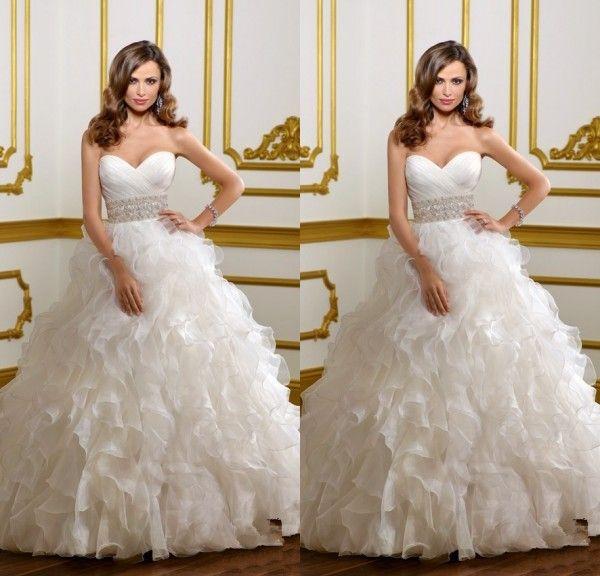 2015 Новый Дизайн Pleat Милая Оборками Из Органзы С Бисером Полосы Длинные Свадебные Платья Платье De Noiva Sereia 2015 Сшитое