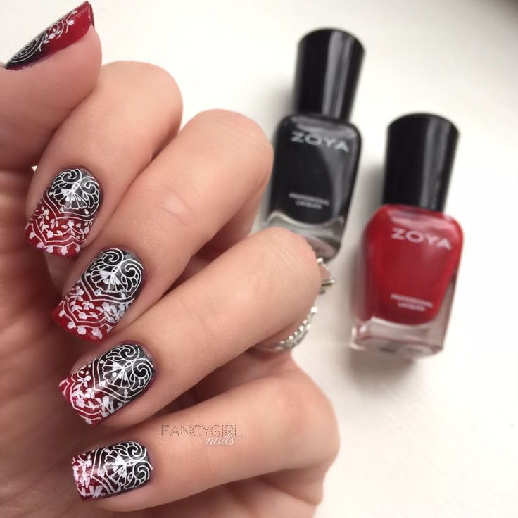 Zoya Milla and Zoya Alix gradient with Moyou London stamping bridal plate.