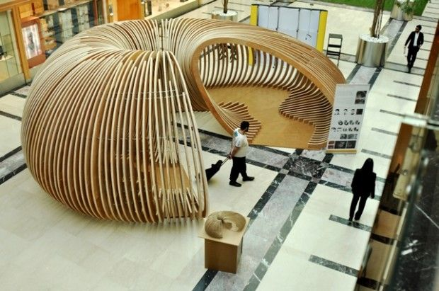 Pavilion Exhibition canasta varillas sucesion medio circulo