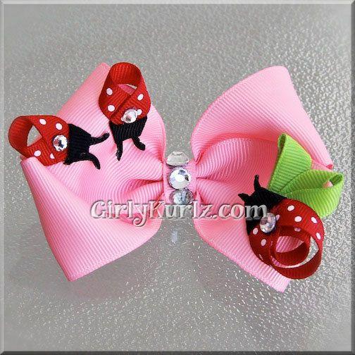 PINK Ladybug Nest Hair Bow Ladybug Hair Bow Easter by GirlyKurlz, $8.00