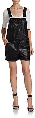 $53, Faux Leather Overall Shorts by Saks Fifth Avenue RED. Sold by Off 5th. Click for more info: http://lookastic.com/women/shop_items/73665/redirect