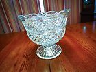 Beautiful Glass Pedestal Punch Bowl Dish Compote Unknown Maker | eBay