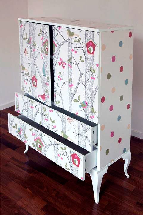 wallpapered cabinets - via Room & Serve