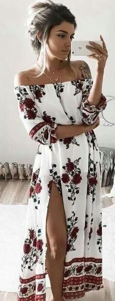 Details: Floral print Off the shoulder Slit at side Material:Cotton Regular wash…