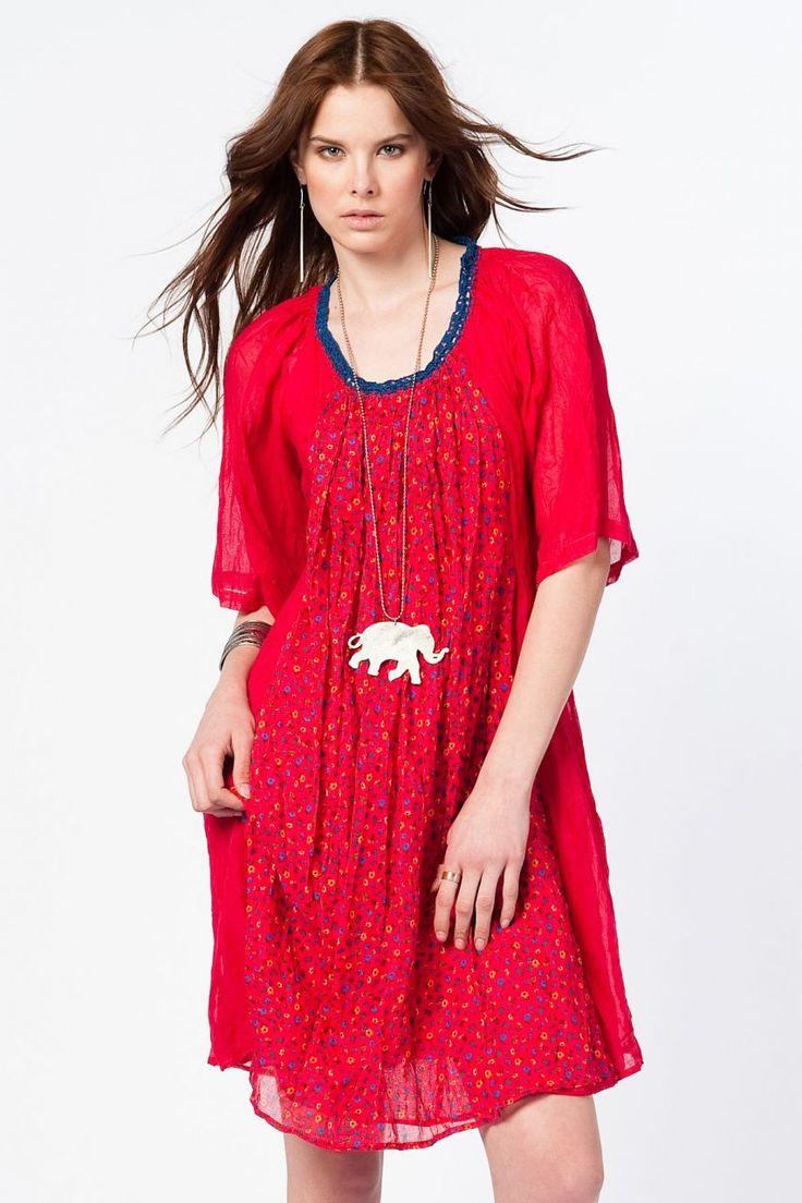 Otantik Foça Elbise - Kırmızı