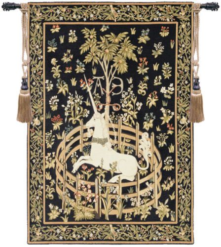 Unicorn-in-Captivity-Belgian-Medieval-Animal-Woven-Tapestry-Wall-Hanging-NEW