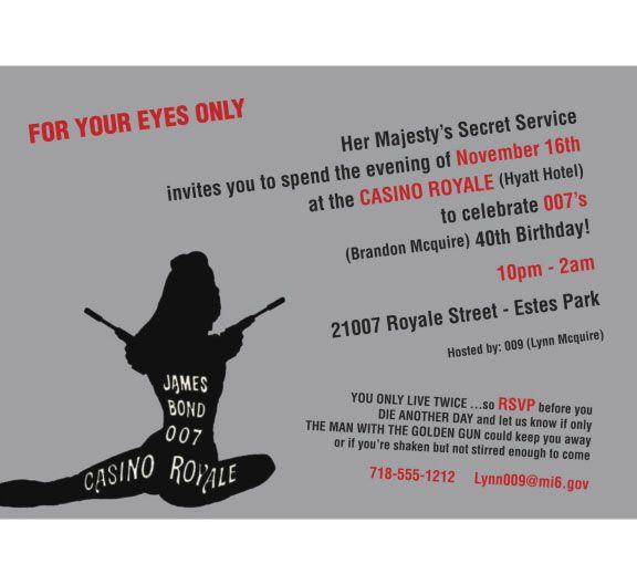 Casino Royale Bond 007 Theme Invitation A casino royale theme – Casino Royale Party Invitations