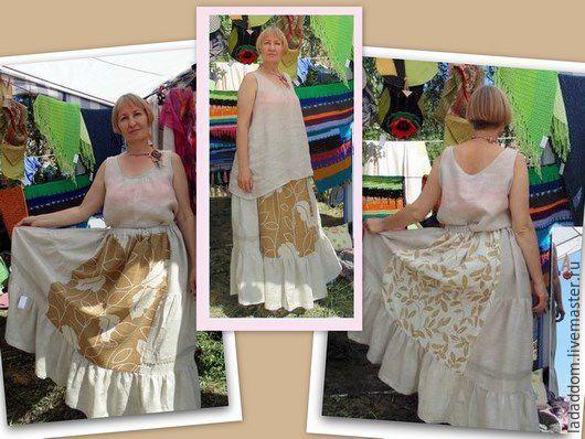 Этническая одежда ручной работы. Ярмарка Мастеров - ручная работа. Купить Юбка длинная льняная стилизованная бохо. Handmade. Комбинированный